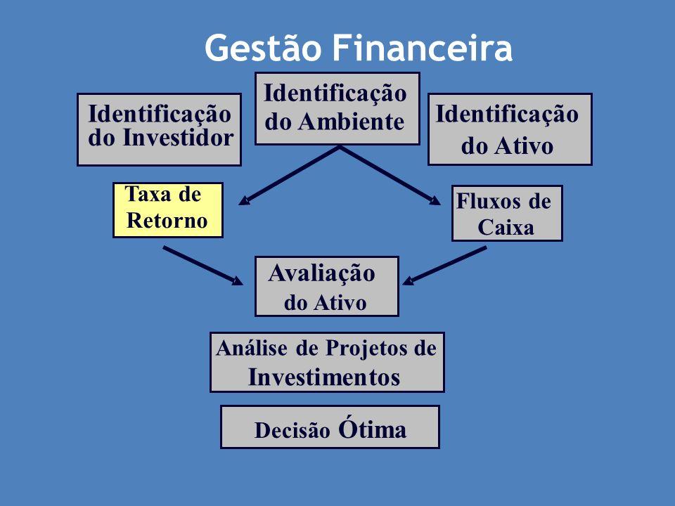 Taxa de Retorno Identificação do Ambiente Fluxos de Caixa Identificação do Ativo Identificação do Investidor Avaliação do Ativo Análise de Projetos de