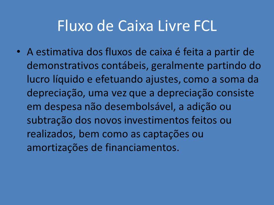 Fluxo de Caixa Livre FCL A estimativa dos fluxos de caixa é feita a partir de demonstrativos contábeis, geralmente partindo do lucro líquido e efetuan