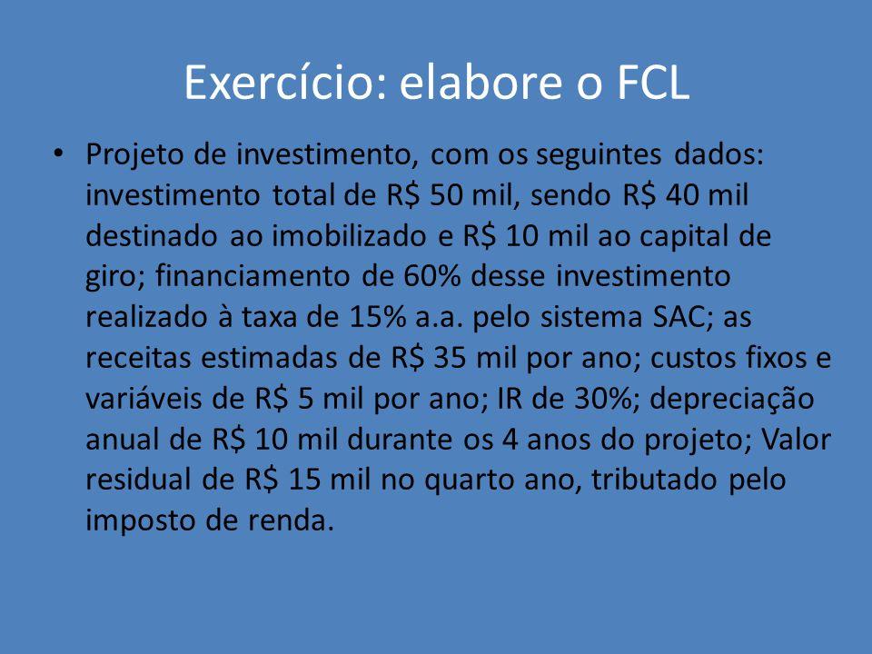 Exercício: elabore o FCL Projeto de investimento, com os seguintes dados: investimento total de R$ 50 mil, sendo R$ 40 mil destinado ao imobilizado e