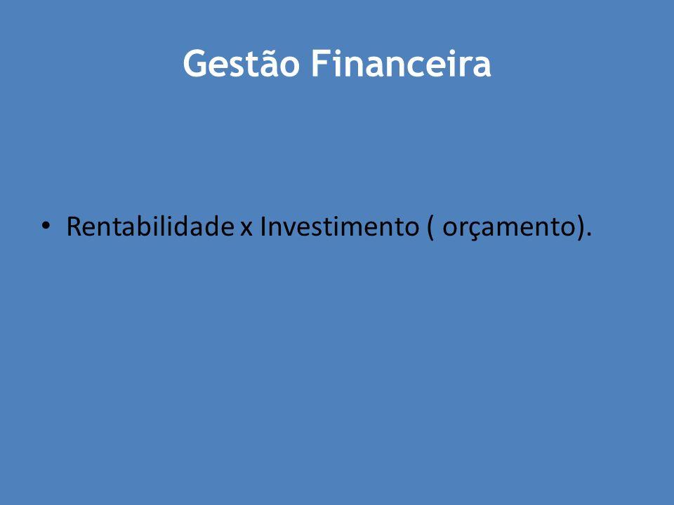 Gestão Financeira Rentabilidade x Investimento ( orçamento).