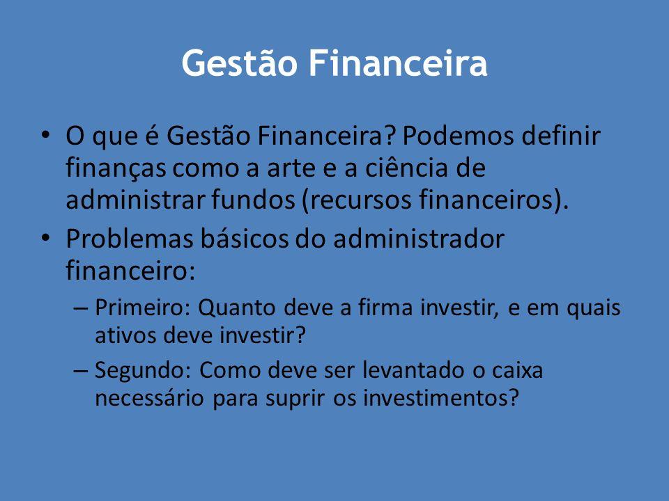 Gestão Financeira O que é Gestão Financeira? Podemos definir finanças como a arte e a ciência de administrar fundos (recursos financeiros). Problemas