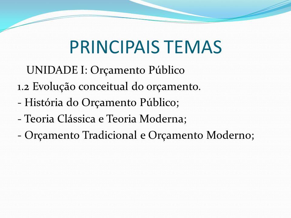 PRINCIPAIS TEMAS UNIDADE I: Orçamento Público 1.2 Evolução conceitual do orçamento. - História do Orçamento Público; - Teoria Clássica e Teoria Modern