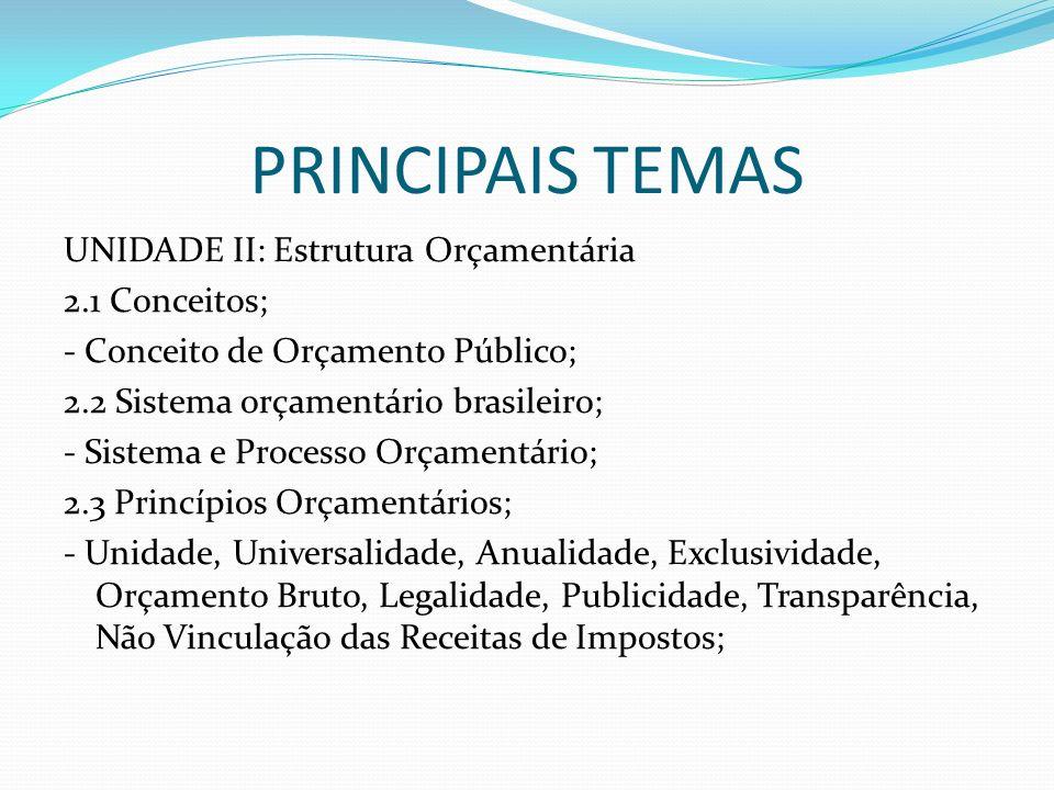PRINCIPAIS TEMAS UNIDADE II: Estrutura Orçamentária 2.1 Conceitos; - Conceito de Orçamento Público; 2.2 Sistema orçamentário brasileiro; - Sistema e P