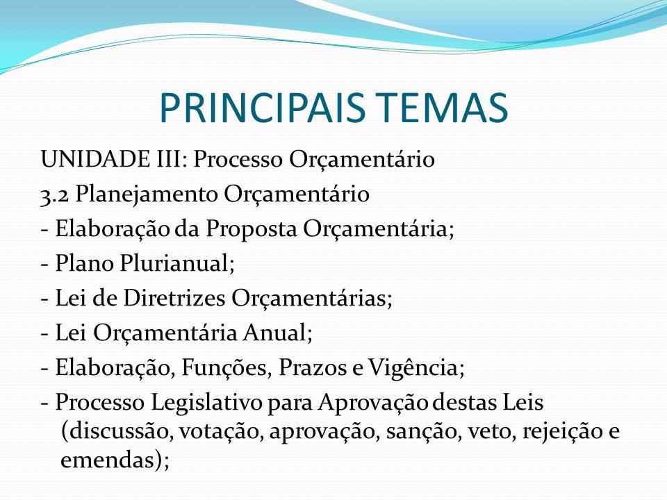PRINCIPAIS TEMAS UNIDADE III: Processo Orçamentário 3.2 Planejamento Orçamentário - Elaboração da Proposta Orçamentária; - Plano Plurianual; - Lei de