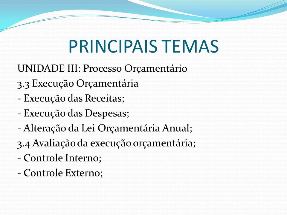 PRINCIPAIS TEMAS UNIDADE III: Processo Orçamentário 3.3 Execução Orçamentária - Execução das Receitas; - Execução das Despesas; - Alteração da Lei Orç