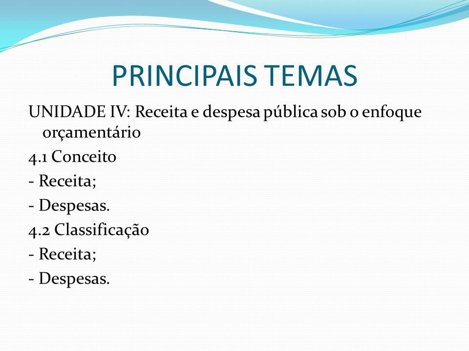 PRINCIPAIS TEMAS UNIDADE IV: Receita e despesa pública sob o enfoque orçamentário 4.1 Conceito - Receita; - Despesas. 4.2 Classificação - Receita; - D