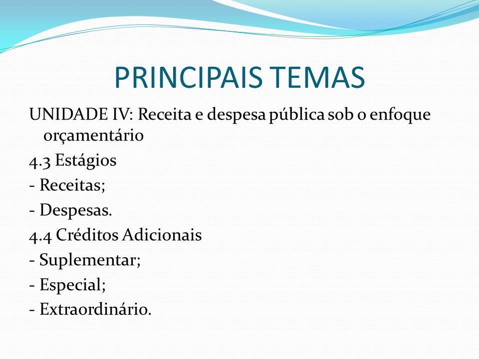 PRINCIPAIS TEMAS UNIDADE IV: Receita e despesa pública sob o enfoque orçamentário 4.3 Estágios - Receitas; - Despesas. 4.4 Créditos Adicionais - Suple