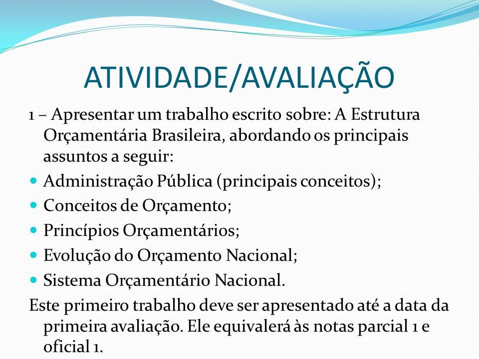 ATIVIDADE/AVALIAÇÃO 1 – Apresentar um trabalho escrito sobre: A Estrutura Orçamentária Brasileira, abordando os principais assuntos a seguir: Administ