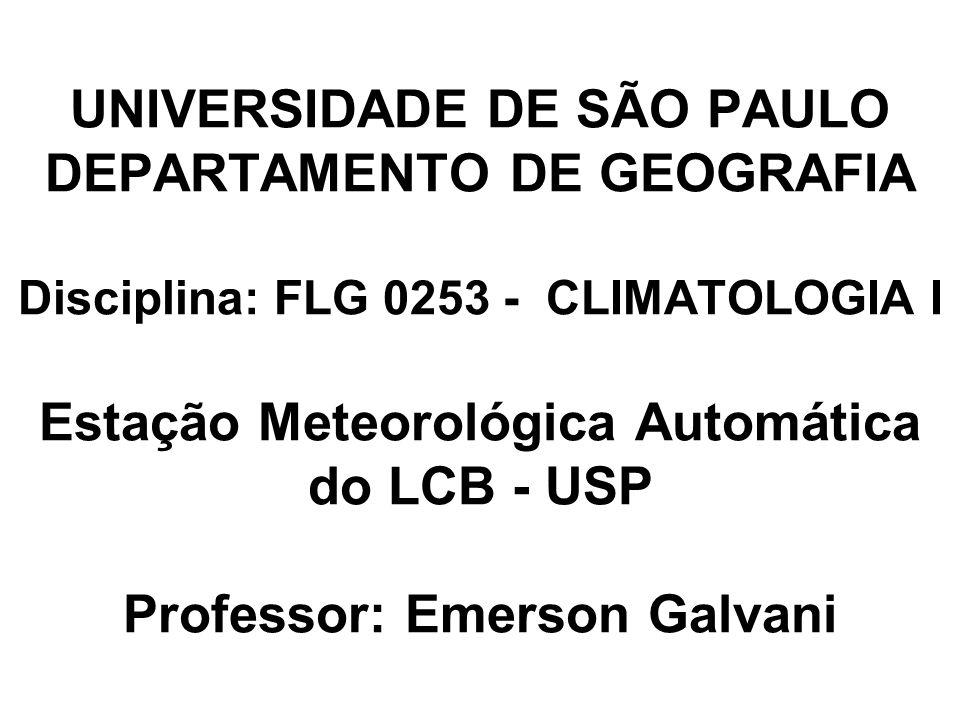 UNIVERSIDADE DE SÃO PAULO DEPARTAMENTO DE GEOGRAFIA Disciplina: FLG 0253 - CLIMATOLOGIA I Estação Meteorológica Automática do LCB - USP Professor: Eme