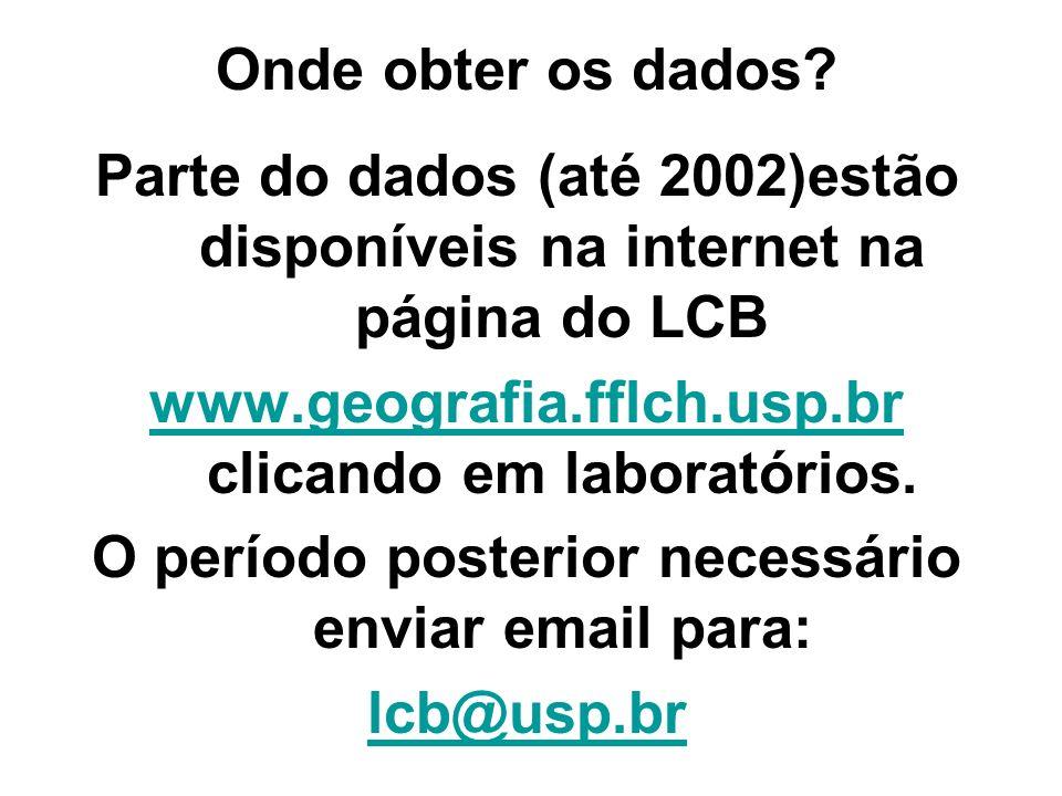 Onde obter os dados? Parte do dados (até 2002)estão disponíveis na internet na página do LCB www.geografia.fflch.usp.br www.geografia.fflch.usp.br cli