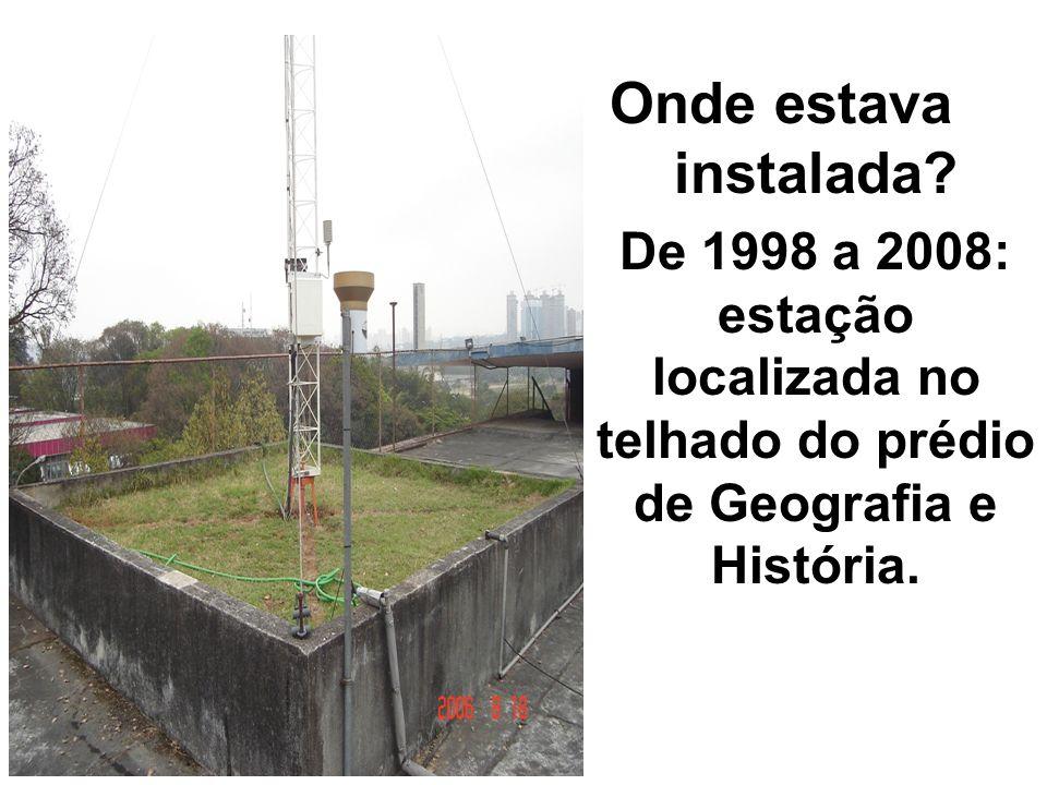 Onde estava instalada? -De 1998 a 2008: estação localizada no telhado do prédio de Geografia e História.