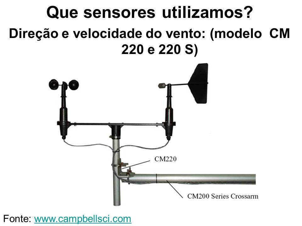 Que sensores utilizamos? Direção e velocidade do vento: (modelo CM 220 e 220 S) Fonte: www.campbellsci.comwww.campbellsci.com