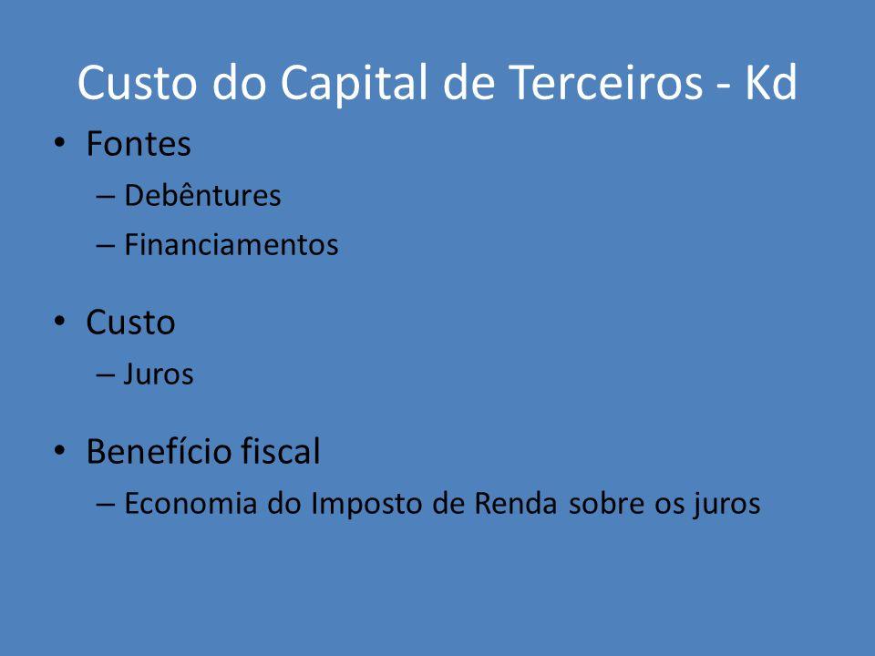 Custo do Capital de Terceiros - Kd Fontes – Debêntures – Financiamentos Custo – Juros Benefício fiscal – Economia do Imposto de Renda sobre os juros
