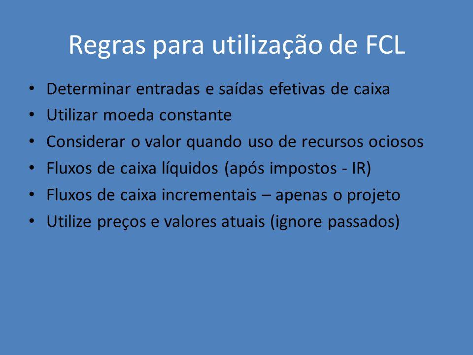 Regras para utilização de FCL Determinar entradas e saídas efetivas de caixa Utilizar moeda constante Considerar o valor quando uso de recursos ocioso