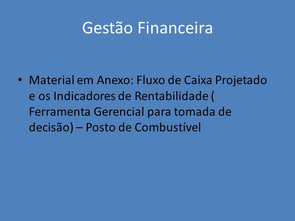 Gestão Financeira Material em Anexo: Fluxo de Caixa Projetado e os Indicadores de Rentabilidade ( Ferramenta Gerencial para tomada de decisão) – Posto