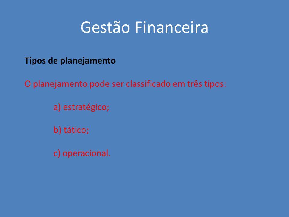 Tipos de planejamento O planejamento pode ser classificado em três tipos: a) estratégico; b) tático; c) operacional. Gestão Financeira