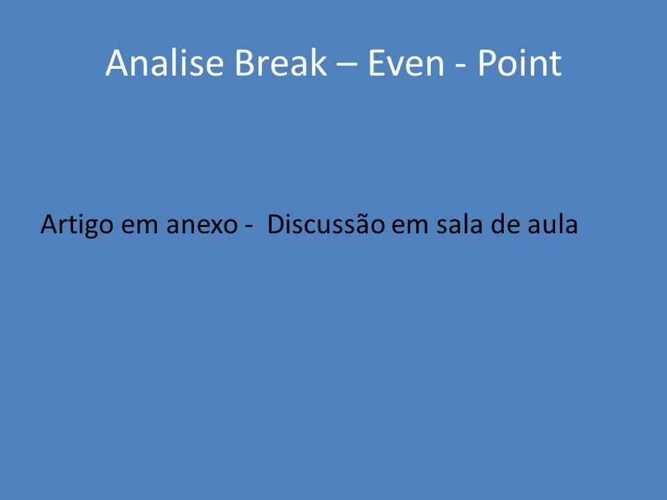 Analise Break – Even - Point Artigo em anexo - Discussão em sala de aula