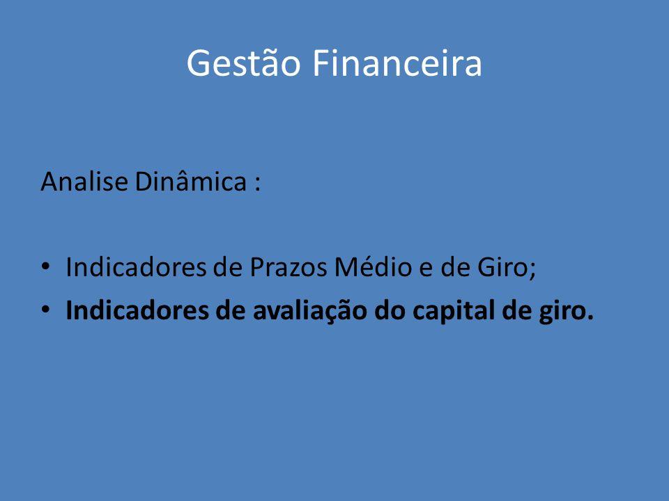 Gestão Financeira Analise Dinâmica : Indicadores de Prazos Médio e de Giro; Indicadores de avaliação do capital de giro.