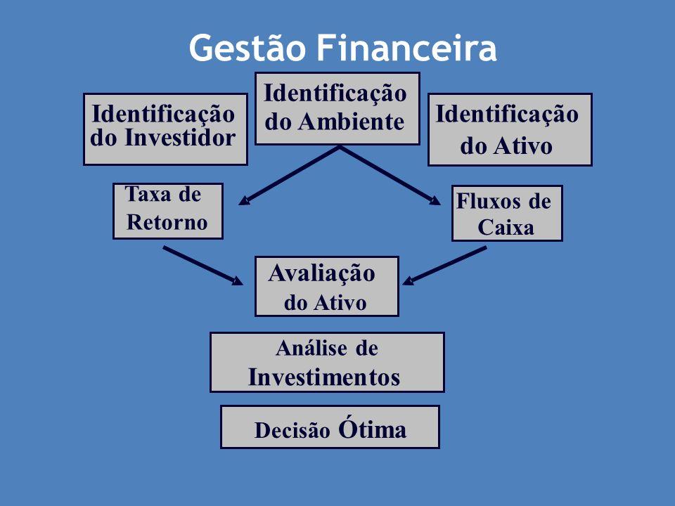 A visão do investidor Deseja maximizar retornos Deseja minimizar riscos Procura liquidez e regras estáveis Identifica oportunidades analisando a relação: Retorno R Risco r =