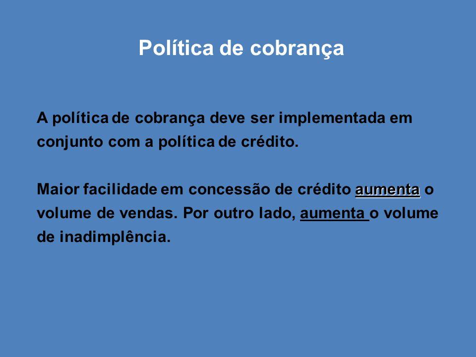 Política de cobrança A política de cobrança deve ser implementada em conjunto com a política de crédito. aumenta Maior facilidade em concessão de créd