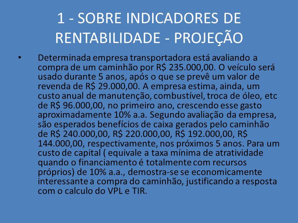 1 - SOBRE INDICADORES DE RENTABILIDADE - PROJEÇÃO Determinada empresa transportadora está avaliando a compra de um caminhão por R$ 235.000,00. O veícu