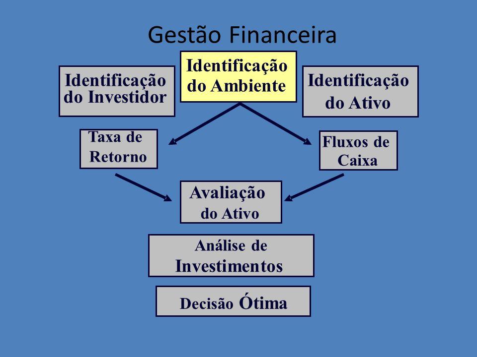 Taxa de Retorno Identificação do Ambiente Fluxos de Caixa Identificação do Ativo Identificação do Investidor Avaliação do Ativo Análise de Investiment