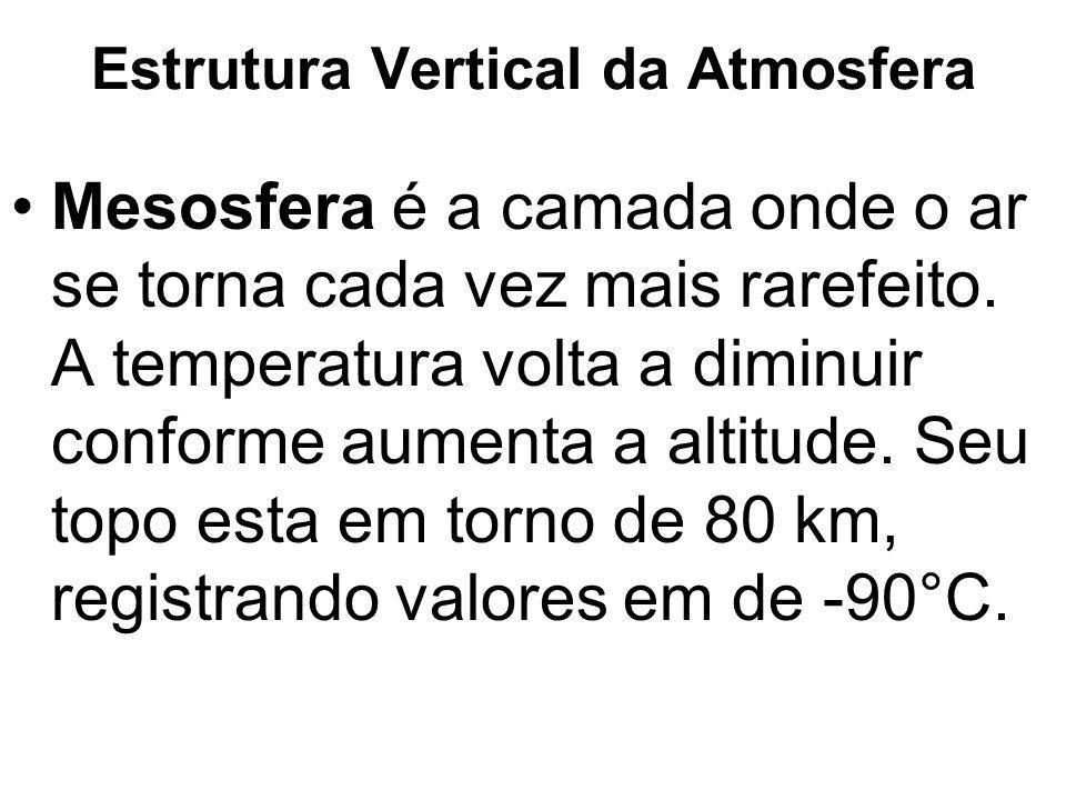Estrutura Vertical da Atmosfera Mesosfera é a camada onde o ar se torna cada vez mais rarefeito. A temperatura volta a diminuir conforme aumenta a alt