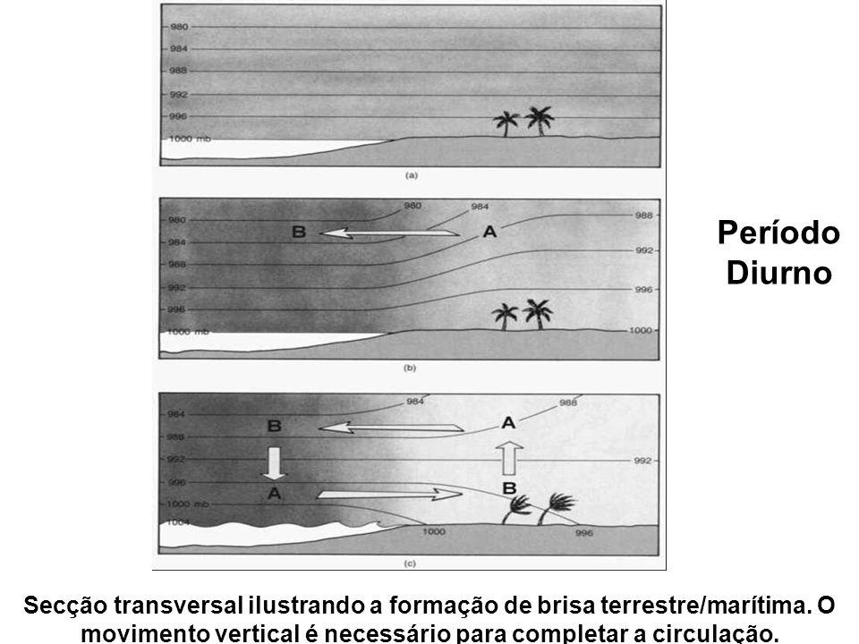 Secção transversal ilustrando a formação de brisa terrestre/marítima. O movimento vertical é necessário para completar a circulação. Período Diurno