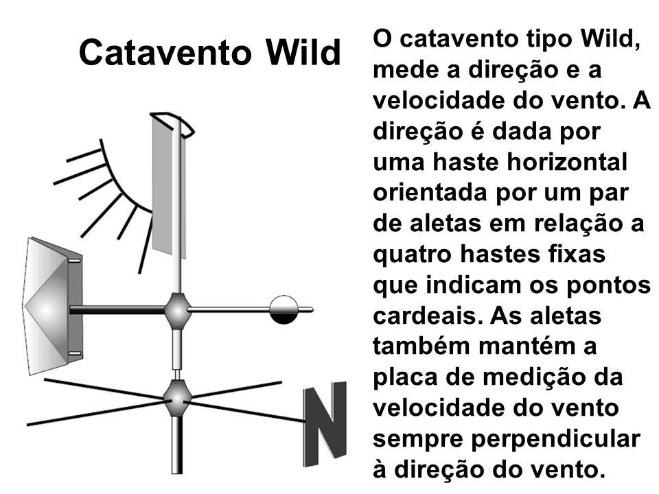 Catavento Wild O catavento tipo Wild, mede a direção e a velocidade do vento. A direção é dada por uma haste horizontal orientada por um par de aletas