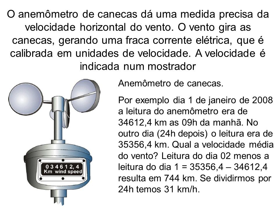 O anemômetro de canecas dá uma medida precisa da velocidade horizontal do vento. O vento gira as canecas, gerando uma fraca corrente elétrica, que é c