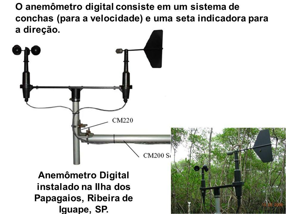 O anemômetro digital consiste em um sistema de conchas (para a velocidade) e uma seta indicadora para a direção. Anemômetro Digital instalado na Ilha