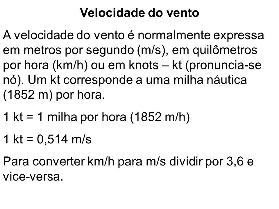 Velocidade do vento A velocidade do vento é normalmente expressa em metros por segundo (m/s), em quilômetros por hora (km/h) ou em knots – kt (pronunc