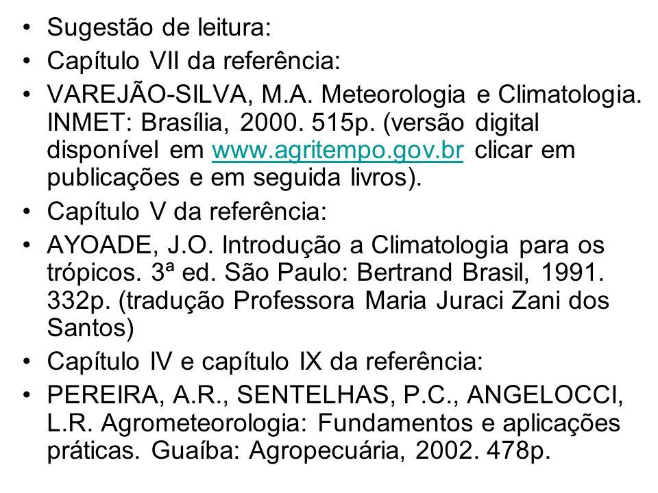 Sugestão de leitura: Capítulo VII da referência: VAREJÃO-SILVA, M.A. Meteorologia e Climatologia. INMET: Brasília, 2000. 515p. (versão digital disponí
