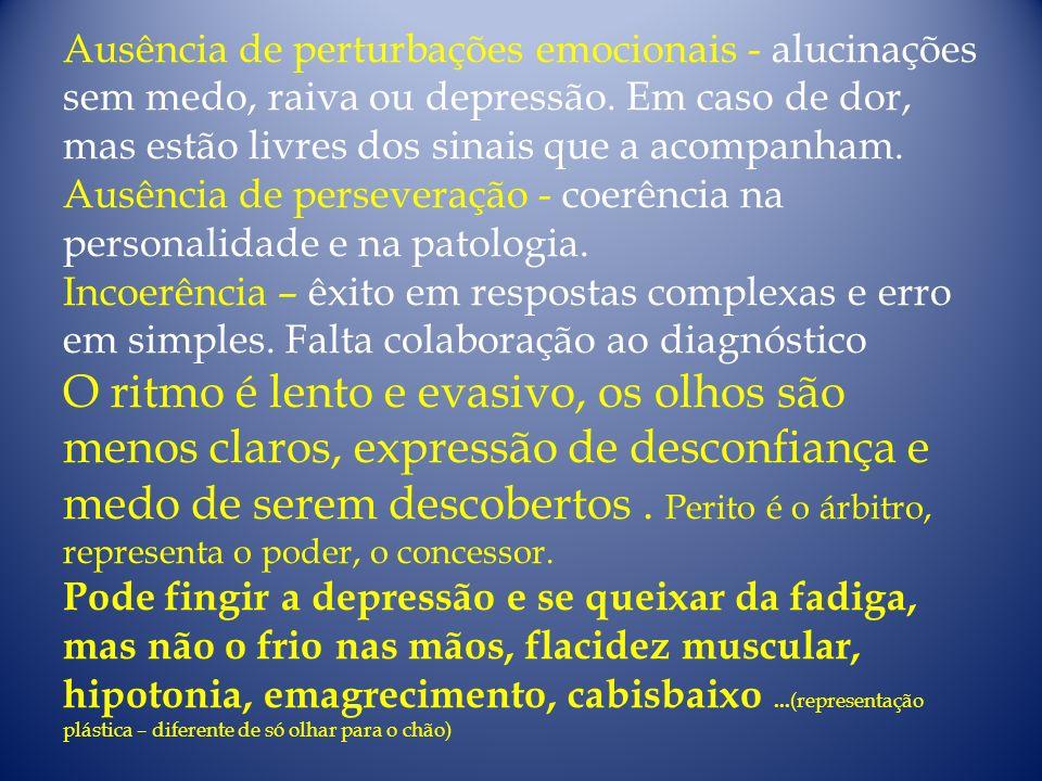 Ausência de perturbações emocionais - alucinações sem medo, raiva ou depressão. Em caso de dor, mas estão livres dos sinais que a acompanham. Ausência