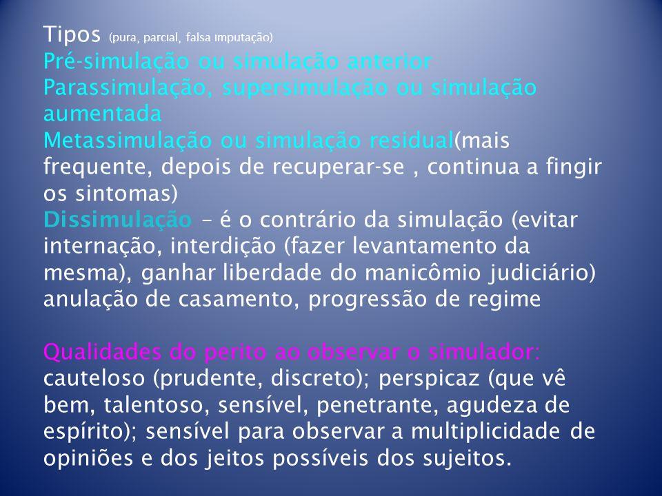 Tipos (pura, parcial, falsa imputação) Pré-simulação ou simulação anterior Parassimulação, supersimulação ou simulação aumentada Metassimulação ou sim