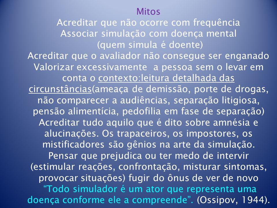 Mitos Acreditar que não ocorre com frequência Associar simulação com doença mental (quem simula é doente) Acreditar que o avaliador não consegue ser e