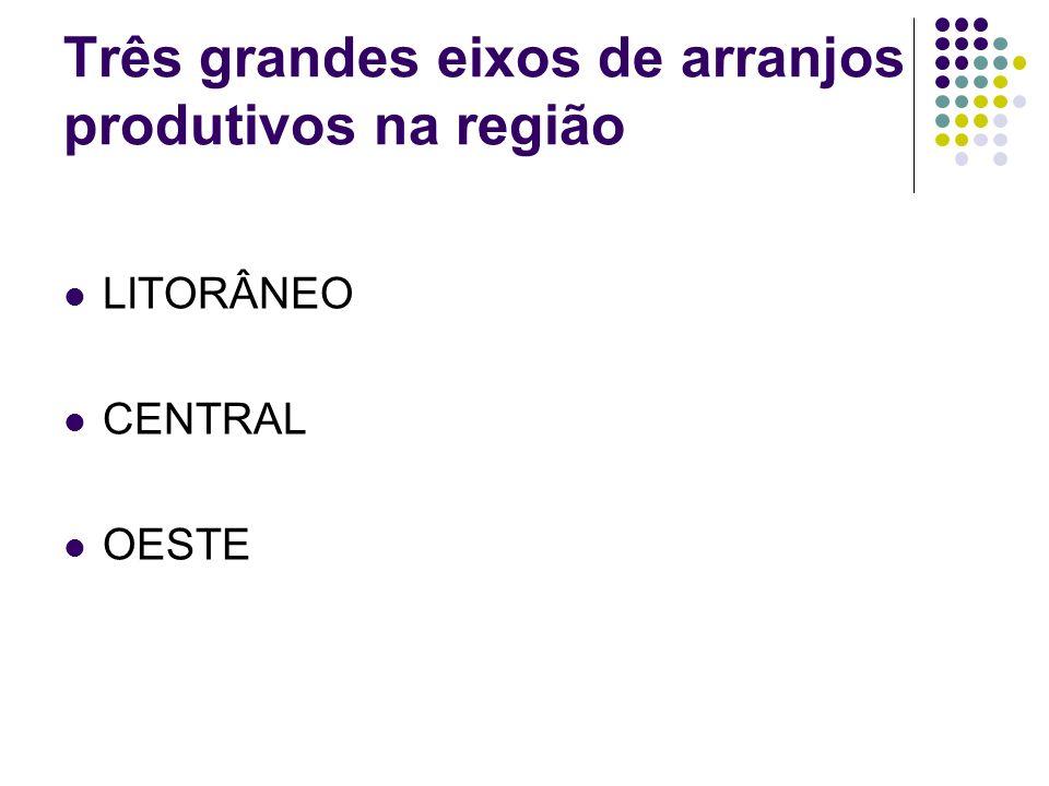 Três grandes eixos de arranjos produtivos na região LITORÂNEO CENTRAL OESTE