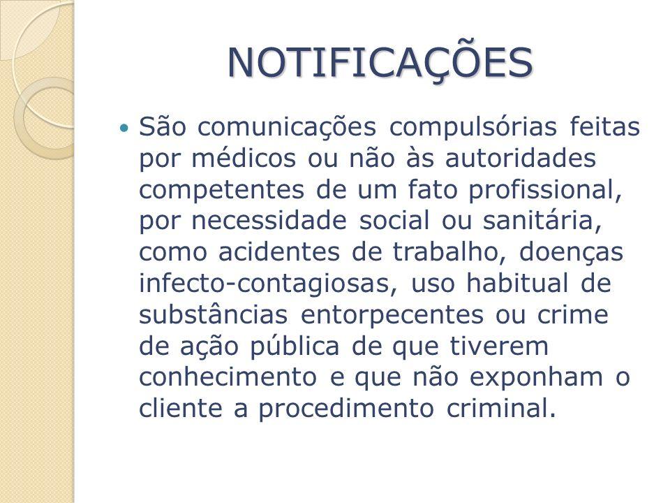 NOTIFICAÇÕES São comunicações compulsórias feitas por médicos ou não às autoridades competentes de um fato profissional, por necessidade social ou san