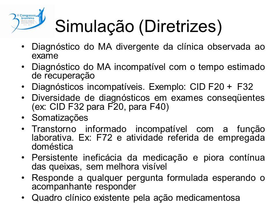 Simulação (Diretrizes) Diagnóstico do MA divergente da clínica observada ao exame Diagnóstico do MA incompatível com o tempo estimado de recuperação Diagnósticos incompatíveis.