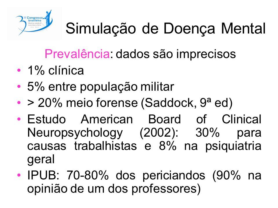 Simulação de Doença Mental Prevalência: dados são imprecisos 1% clínica 5% entre população militar > 20% meio forense (Saddock, 9ª ed) Estudo American Board of Clinical Neuropsychology (2002): 30% para causas trabalhistas e 8% na psiquiatria geral IPUB: 70-80% dos periciandos (90% na opinião de um dos professores)