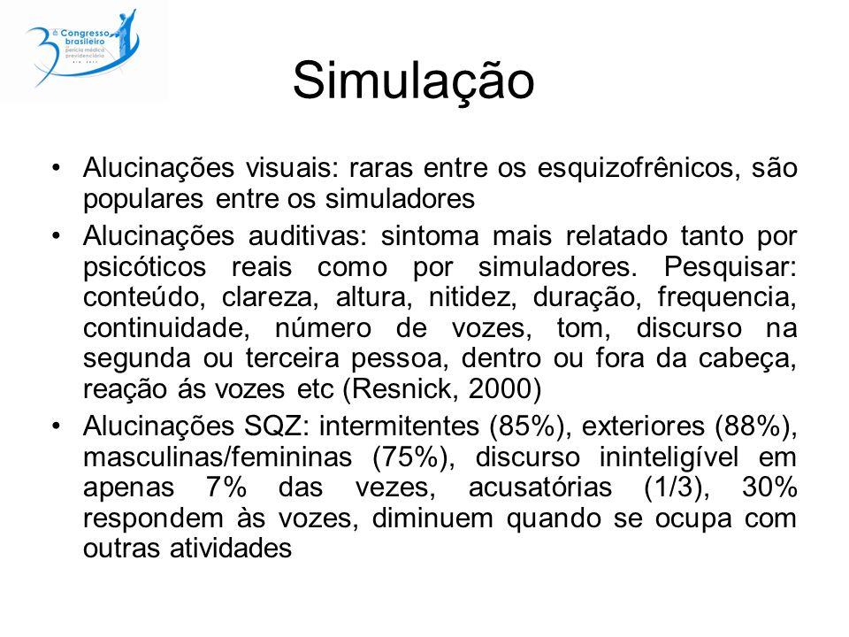 Simulação Alucinações visuais: raras entre os esquizofrênicos, são populares entre os simuladores Alucinações auditivas: sintoma mais relatado tanto por psicóticos reais como por simuladores.