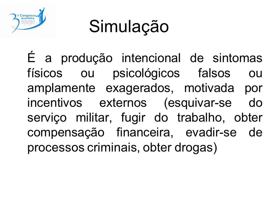 Simulação É a produção intencional de sintomas físicos ou psicológicos falsos ou amplamente exagerados, motivada por incentivos externos (esquivar-se