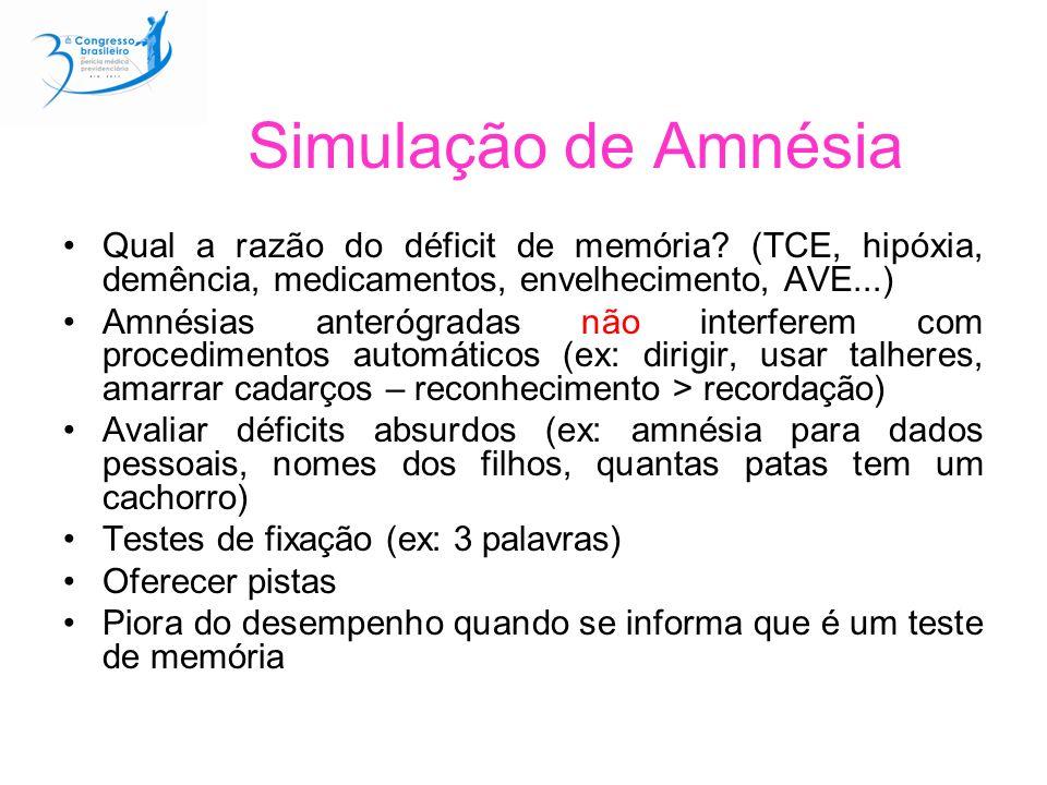 Simulação de Amnésia Qual a razão do déficit de memória? (TCE, hipóxia, demência, medicamentos, envelhecimento, AVE...) Amnésias anterógradas não inte