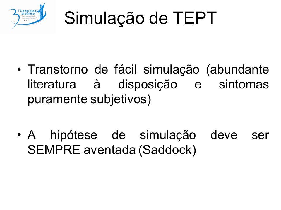 Simulação de TEPT Transtorno de fácil simulação (abundante literatura à disposição e sintomas puramente subjetivos) A hipótese de simulação deve ser SEMPRE aventada (Saddock)