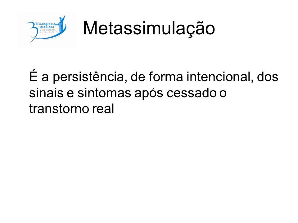Metassimulação É a persistência, de forma intencional, dos sinais e sintomas após cessado o transtorno real