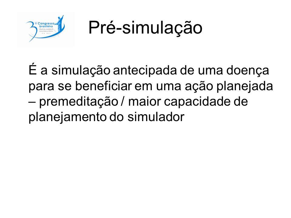 Pré-simulação É a simulação antecipada de uma doença para se beneficiar em uma ação planejada – premeditação / maior capacidade de planejamento do sim