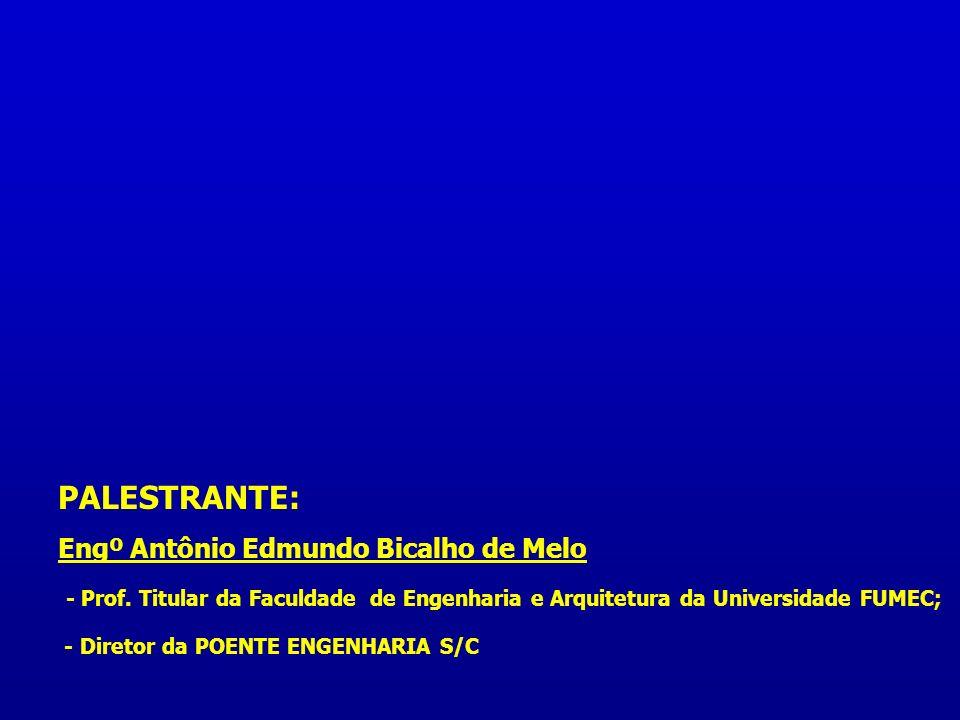 PALESTRANTE: Engº Antônio Edmundo Bicalho de Melo - Prof. Titular da Faculdade de Engenharia e Arquitetura da Universidade FUMEC; - Diretor da POENTE
