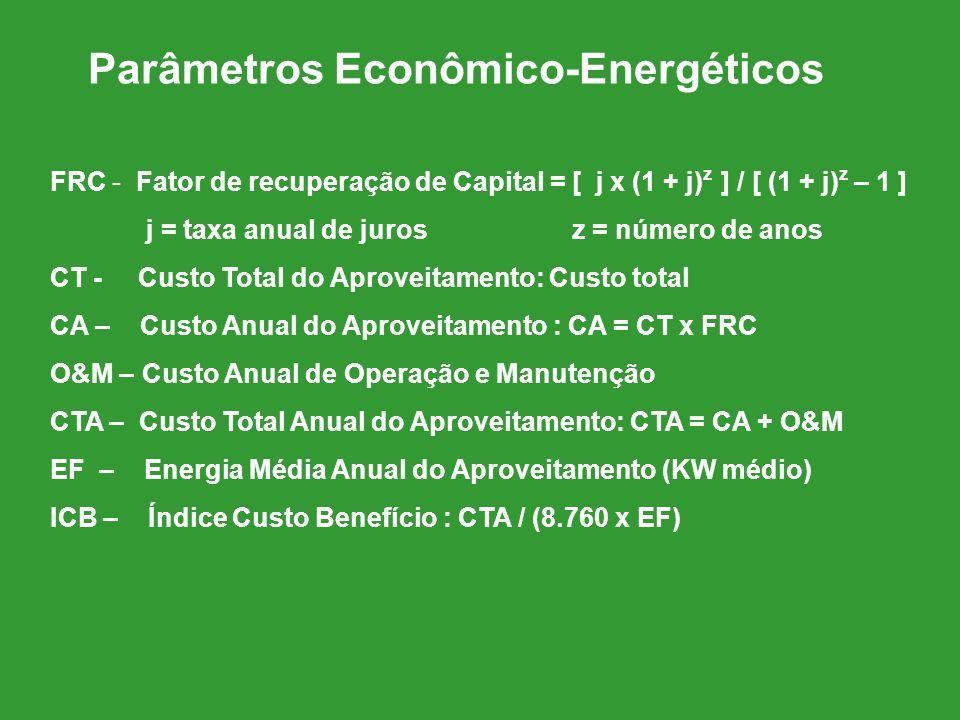 Parâmetros Econômico-Energéticos FRC - Fator de recuperação de Capital = [ j x (1 + j) z ] / [ (1 + j) z – 1 ] j = taxa anual de juros z = número de a