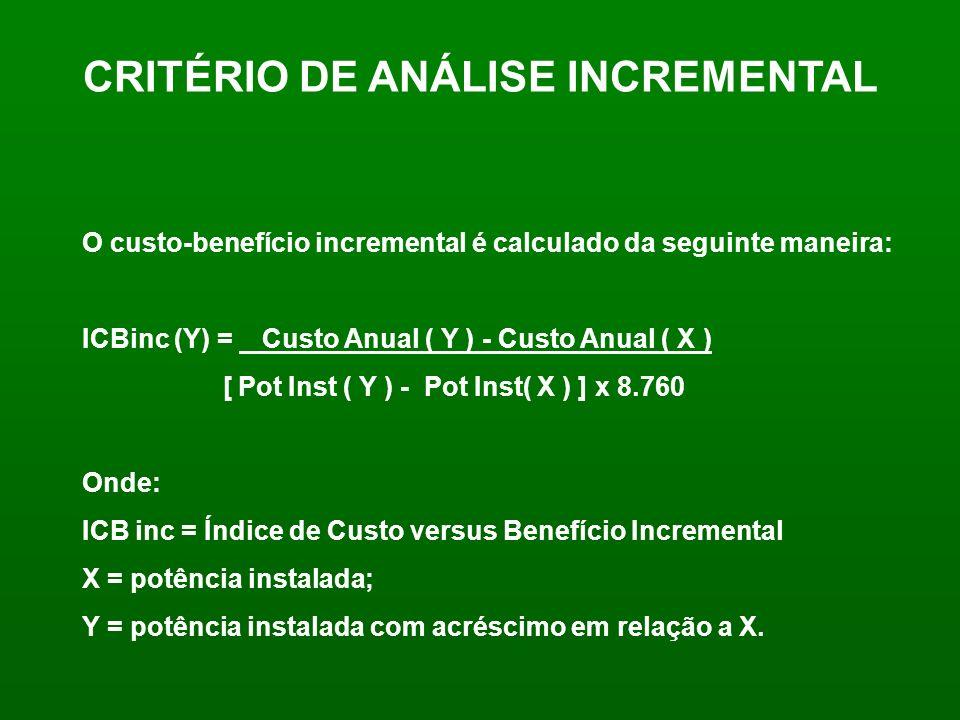 CRITÉRIO DE ANÁLISE INCREMENTAL O custo-benefício incremental é calculado da seguinte maneira: ICBinc (Y) = Custo Anual ( Y ) - Custo Anual ( X ) [ Po