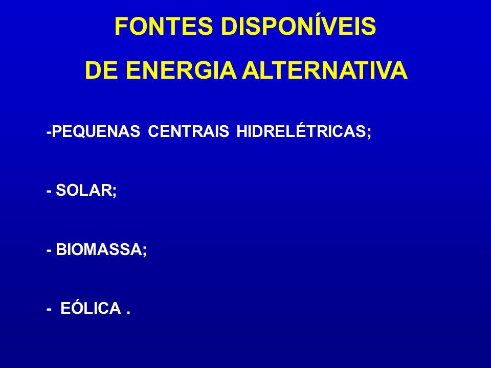 -PEQUENAS CENTRAIS HIDRELÉTRICAS; - SOLAR; - BIOMASSA; - EÓLICA. FONTES DISPONÍVEIS DE ENERGIA ALTERNATIVA